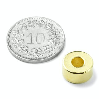 Ringmagnet Ø 10/4 mm, Höhe 5 mm golden