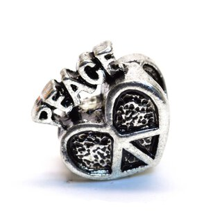 Antiksilber Bead Peace Heart