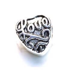 Antiksilber Bead Love Heart