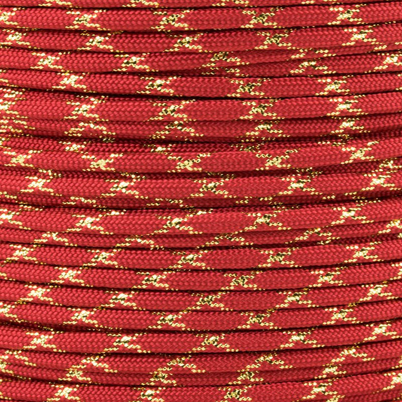 Paracord Typ 3 imperial red / gold metal x