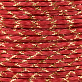 Paracord Typ 3 imperial red gold metal x