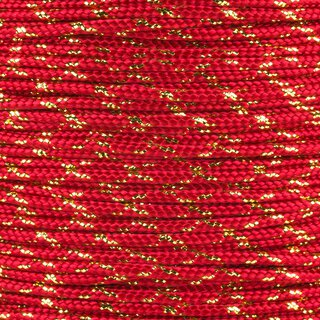 Paracord Typ 2 imperial red / gold metal x