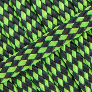 PPM Hohlseil 8mm 12-fach geflochten neon green black stripe