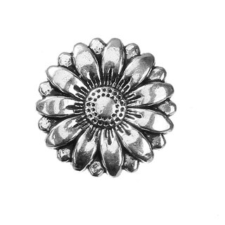 Antiksilber Knopf m. Ring, Sunflower